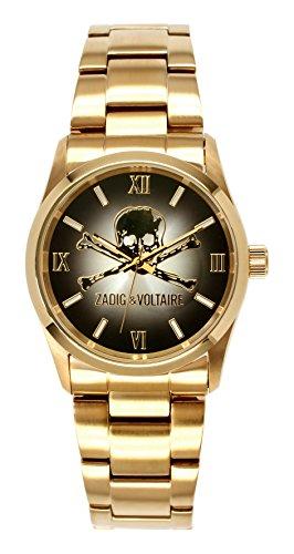 Zadig Voltaire ZV &007/Rock am-Unisex Watch Analogue Quartz Black Dial Gold Plated Steel Bracelet