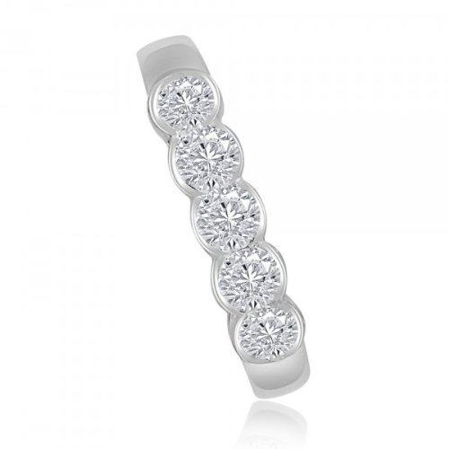 0.60ct G/SI1 Diamond Half Eternity Ring for Women with Round Brilliant cut diamonds in 18ct White Gold