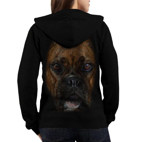 Wellcoda | Boxer Big Face Dog Pitbull Puppy Pet Women Hoodie New Black M
