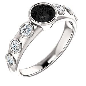 18K White Gold Round Cut Black Diamond Engagement Ring - 1.1 Ct.