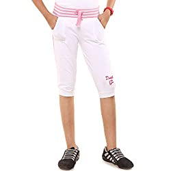 Menthol Girls Stylish Capri (11-12 Years, White)