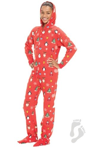 7aba316f53ea Footed Pajamas - Holly Jolly Christmas Kids Hoodie One Piece ...