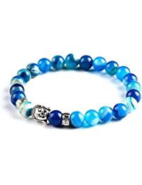 "Hot And Bold ""Devout Collection"" Blue Natural Buddha Beads Chain Bracelet For Men / Women / Boys /Girls"
