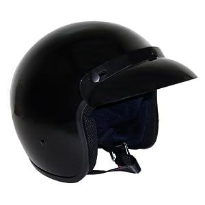 Motorcycle 3/4 Open Face Helmet Snap On Visor Street Cafe Racer DOT - Glossy Black (Large)
