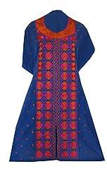 Phulkari Craft Women's Cotton Unstitched Kurti (PC0021_Blue_Free Size)