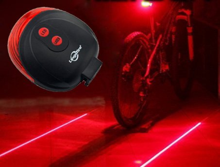 LingsFire® Bike Lane LED Laser Rear Tail Light Cycling Bicycle Road Safety