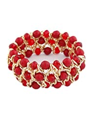 Young & Forever ♥♥Valentine Special♥♥ Red Agate Beads With Braided Gold Chain Crystal Bracelet For Women