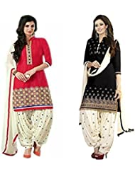 Marmic Fab Women's Cotton Printed Unstitched Regular Wear Salwar Suit Dress Material (MR_Dress_682_Black&Red_freesize)