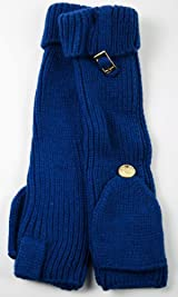 Fingerless Long Knit Gloves with Cap Navy