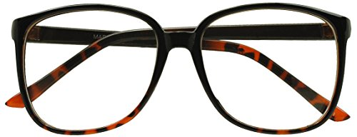 [Sunglass Stop - Two-Tone Non Prescription Oversized Clear Lens Nerdy Reading Glasses] (Super Nerdy Costume)