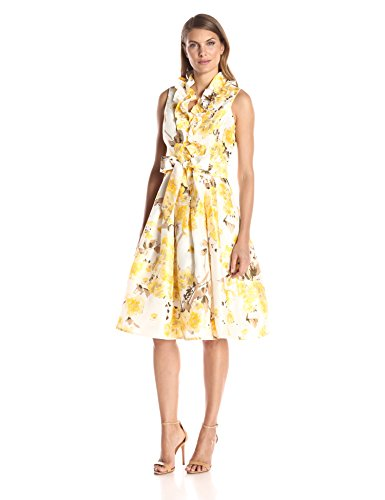 Jessica Howard Women's Shantung Wrap Dress, Yellow, 14