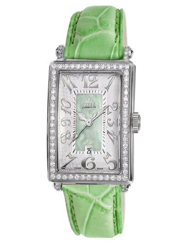 Gevril Women's 7246NV.6A Green Mother-of-Pearl Genuine Alligator Strap Watch