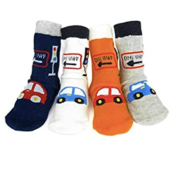 Newborns Cute Sock Crew Baby Boy Shoes Socks Car Stripe Non-slip Socks 12 - 24 Months Children Socks (Car)