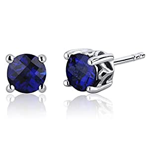 Revoni Scroll Design 2.00ct Blue Sapphire Round Cut Stud Earrings in Sterling Silver