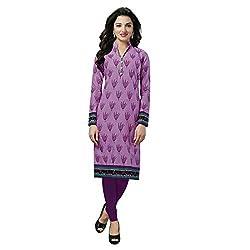 Stylish Girls Women Cotton Printed Unstitched Kurti Fabric (SG_K129_Purple_Free Size)