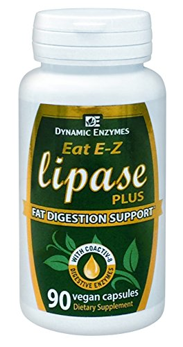 Eat E-Z Lipase Plus - 90 Vegan Capsules - Fat-Digesting Enzymes - All Natural Digestive Enzymes - Supports Lipid and Omega Fatty Acids Metabolism - Dynamic Enzymes  - 100% SATISFACTION GUARANTEED (Natural Dynamics compare prices)