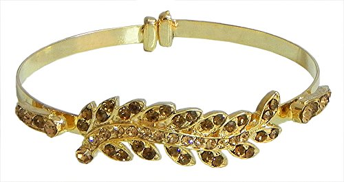 Faux Citrine Studded Cuff Bracelet - Metal