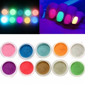 DancingNail 10 Colors Glow In The Dark Nail Fluorescent Tattoo Acrylic Powder Decoration