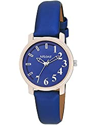 AFLOAT Analog Blue Dial Blue Leather Strap Wrist Watch For Girls, Women