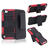 eForCity Hybrid Stand Case with Holster Compatible with Apple® iPod touch® 5th Generation, Red Skin / Black Hard