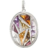 68296 Silver 37.00 X 28.00 Mm Genuine White Quartz, Amethyst, Olive Green Quartz, Green Quartz, Citrine, Brown Quartz, Brazilian Garnet And Madeira Citrine Pendant