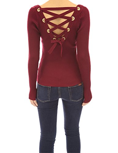 pattyboutik-women-s-ribbed-lace-up-back-long-sleeve-sweater-burgundy-l-