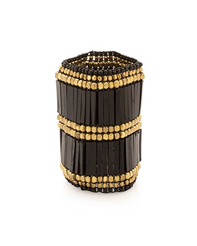 Voylla Black And Gold Colored Beaded Bracelet (multicolor)
