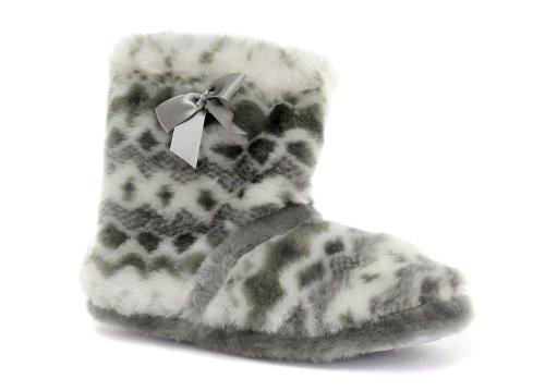 Cheap Dunlop Honey Grey Bow Womens Boot Slippers (B005PN6PP6)