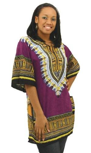 Traditional Print Unisex Dashiki - Many Colors Available, Purple