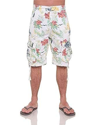 BLZ jeans - Bermuda homme fashion fleuri - couleur: Blanc - taille: FR 40 US 32