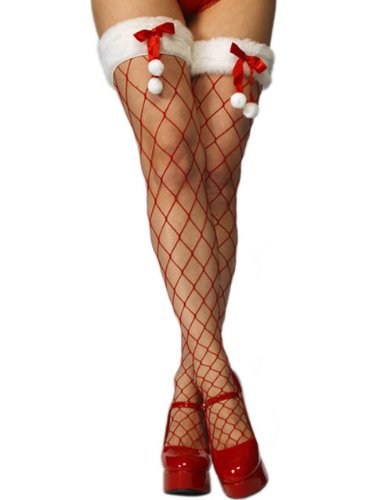 Red Christmas Fishnet Stockings with Bow and Toggles