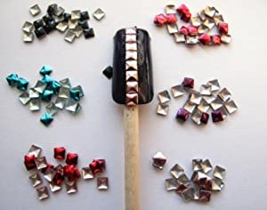 New Trend - Come 2 Buy 600 PCS 3D Metallic 6 Mix Colors 3mm Square Alloy Nail Art Metal Studs for Nails  Cellphones