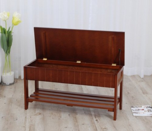 Legacy Decor Solid Wood Shoe Bench Rack With Storage Walnut Finish New Ebay