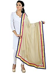 PAGAZO Solid Beige Chiffon Dupatta/ Stoles With Lace Work