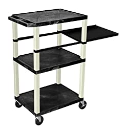 H Wilson WTPSP42E Black 42 in. Tuffy Presentation Station with Black Legs - Side Pullout Shelf with Electric