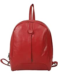 Leather Giant - 100% Pure Leather Laptop Bag / Travel Backpack / Collage Bag(Red)
