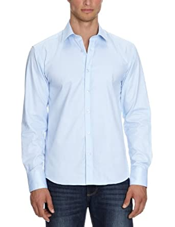 SELECTED HOMME Herren Freizeithemd Slim Fit 16016584 One Pelle Santiago Light Blue, Gr. 48 (S), Blau (Light Blue)