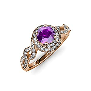 Amethyst and Diamond (SI2-I1, G-H) Twisted Halo Engagement Ring 1.50 ct tw in 14K Rose Gold.size 5.0