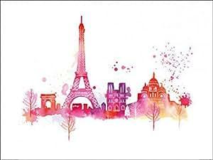 Posters: Paris Poster Art Print - Paris Skyline, Eiffel Tour And Other Buildings, Summer Thornton (32 x 24 inches)