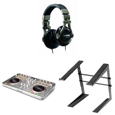 DJ Bundle with Numark Mixtrack II, Shure SRH550DJ Headphones and Laptop Stand