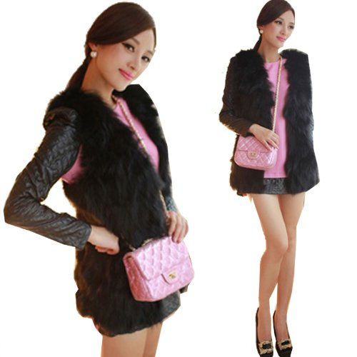 GT-Dress V-neck sleeveless faux vest fox fur long waistcoat design vest