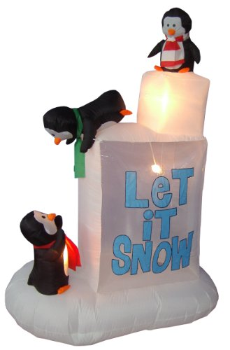 6 Foot Christmas Inflatable 3 Penguins on Snow