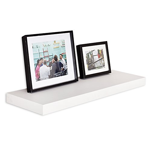 WELLAND 12-Inch Depth Grande Floating Wall Shelf, Deeper Than Others (36'', Off White)