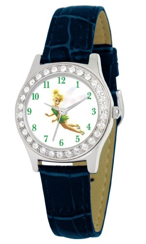 Disney Women's D1513S009 Queen Collection Tinker Bell Blue Leather Strap Watch