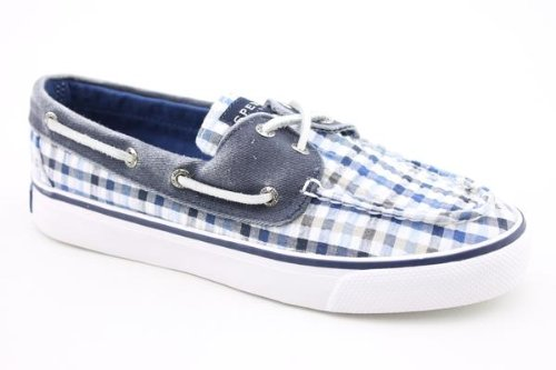 Sperry Top-Sider Women's Bahama 2-Eye Lace-Up,Navy Seersucker Plaid,10 US