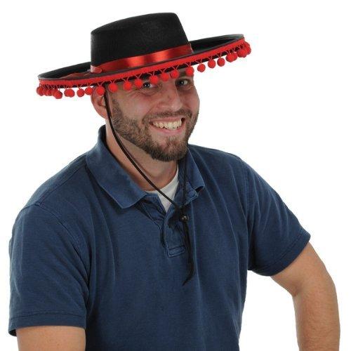 Felt  (Black Spanish Hat With Pompoms)