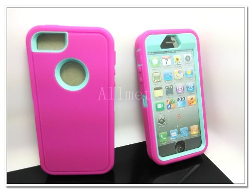 Buy  Multi Color Iphone 5 5S Body Armor Silicone Hybrid Cove Hard Case, Three Layer Silicone PC Case Cover for iPhone 5 5S (Hot Pink+Light Blue)