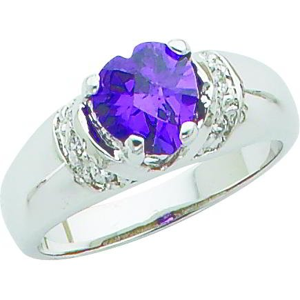 Sterling Silver Cubic Zirconia Heart Promise Ring Sz 8