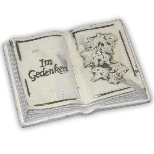 """Keramik Buch 11x8x2 cm mit Spruch """"Im Gedenken"""" mit Efeu"""