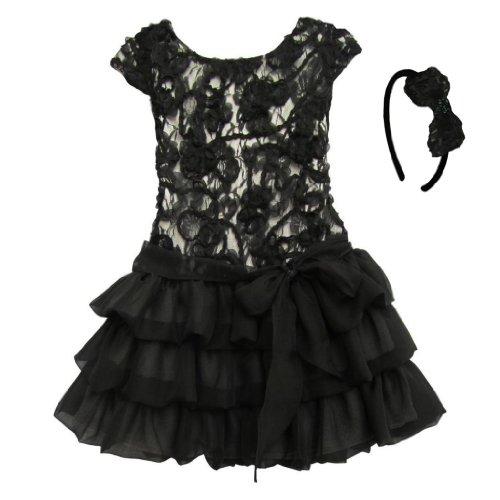 Isobella & Chloe Black Audrey Dress And Matching Headband. Black. Size 6.